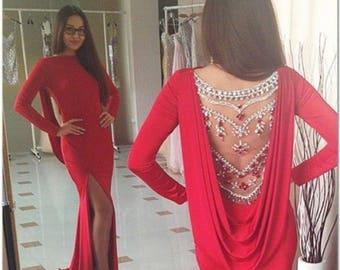 Exquisite Dress with  Rhinestone Beading Back