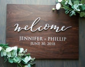 "Personalized Unique ""Welcome"" Wood Wedding Sign 