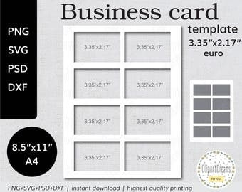 85 x 11 business card template