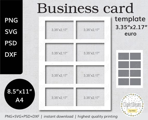 X Business Card Template EURO Instant Download PNG PSD - 35 x2 business card template