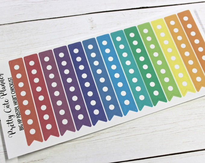 BIG HAPPY Planner Stickers / Pastel Checklists / Weekly Habit Tracker / Planner Stickers / Happy Planner/ Side Bar Sticker / Daily checklist