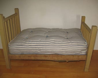 Ticking mattress for antique doll beds
