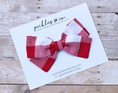 Red and White Oversized Gingham Fabric Bow - Choose nylon headband or adjustable clip