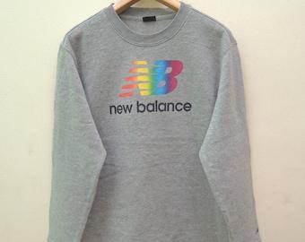 Vintage New Balance Big Logo Sweatshirt Pull Over Sportwear Street Wear Swag Size LL