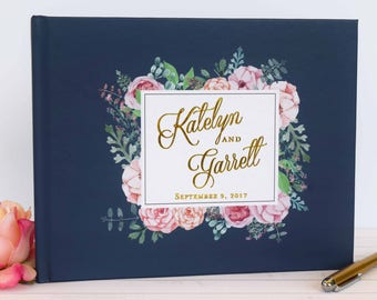 Real Gold Foil Wedding Guest Book Landscape Gold Guest Book Gold Guestbook Custom Guestbook Horizontal Guest book Vintage Guest Book Navy