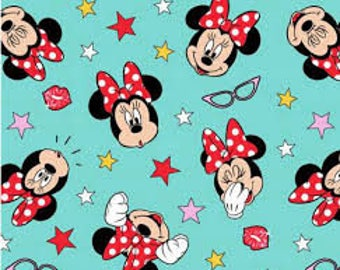 "Minnie Mouse being silly by Springs Creative, 43-44"" wide, 100% cotton, by the half yard, minnie fabric, character fabric, disney fabric"
