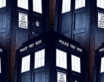 "Dr. Who packed tardis fabric for Springs Creative, 43"" wide, 100% cotton, by the half yard"