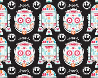 "Star Wars Sugar Skull R2D2 and C3PO on black fabric, By the Half Yard, 44"" wide, cotton fabric, r2d2 fabric, c3po fabric, sugar skulls"