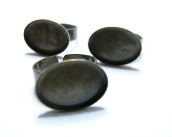 2 BRONZE oval 13 by 18mm horizontal rings