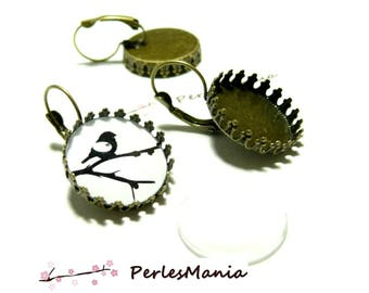 20 pieces: 10 blank SLEEPER claw A SERTIR 20 mm BRONZE and 10 cabochons earrings