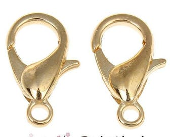 Lobster clasp 12mm antique gold color