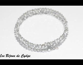 Silver faceted glass beads 3 rows of 55mm memory bracelet