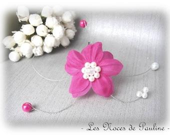 Wedding white flower fuchsia silk Eva PIC