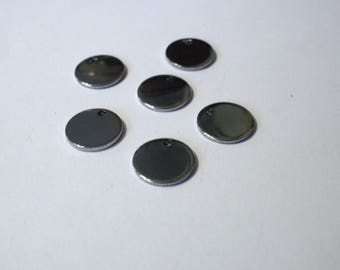 Set of 10 pendants 1 cm stainless steel round sequins