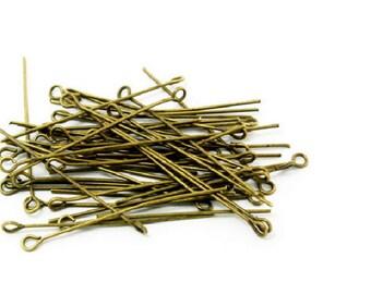 set of 50 PCs round head pin 45 mm metal color bronze