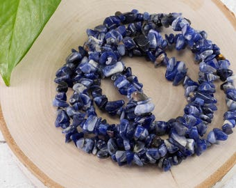 """36"""" SODALITE Chip Necklace - Sodalite Bead Necklace, Sodalite Jewelry, Sodalite Necklace, Healing Stone, Healing Crystal Jewelry E0814"""