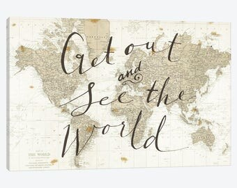 World map art etsy world map art print map of the world poster get out and see the world sciox Choice Image