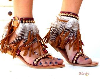 Kleio, Native America Tall gladiator sandals,  Leather sandals, brown feather sandals, festival shoes, Gladiator Sandal, boho sandals,