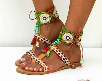 "Boho Sandals,  summer shoes, ""Amazonite""  Handmade Sandals, Greek Sandals, hippie sandals, Bohemian sandals, green sandals"