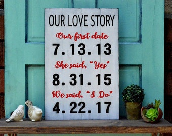 "Painted Wood Sign on Distressed White Washed Pallet Our Love Story - 22""x14"""