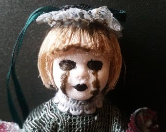 Hyacinth the Pocket Witch (horror doll, occult, OOAK, repainted)