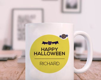 Happy Halloween Mug Personalized With Name Printed On It