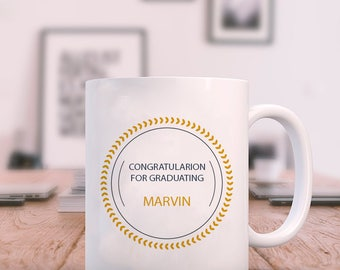 White Colored Graduation Congratulation Personalized Mug With Name