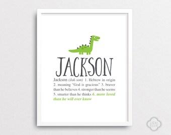 Jackson - Dinosaur nursery art - Personalized baby gift  - Custom baby name print - Printable - PRINTABLE