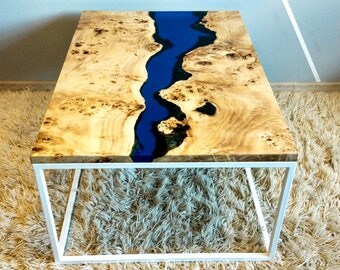 SOLD Live edge river blue epoxy coffee table SOLD