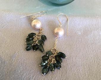 Green tourmaline with pearl cascade earrings