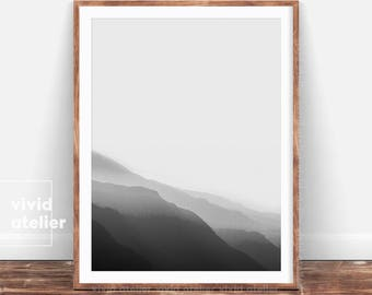 Mountain Print, Minimalist, Black and White Print,Mountain Range, Nordic, Minimalist Print, Printable Art, Nature Print, Landscape, Fog Art