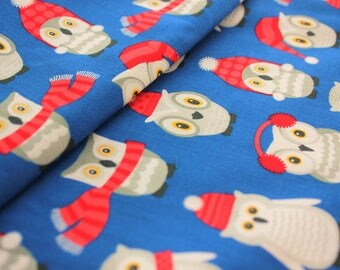 Cotton Fabric, Robert Kaufman, Polar Pals, by Andie Hanna, Owls, Winter Owls, Winter, Royal Blue, Dark Blue, Owl, Half Metre