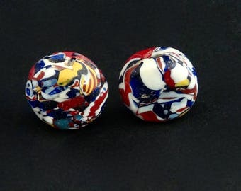 V82-  2 Venetian tabular beads