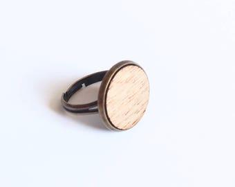 """Ring """"Ema"""" mahogany wood - large format"""