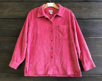 Vintage 90s LL Bean Velvet Corduroy Button Up Shirt