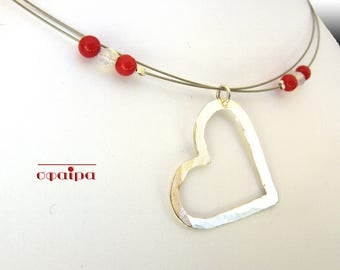 Sterling Silver Heart Necklace, Real Red Corals, Dainty Silver Necklace, Valentines gift.