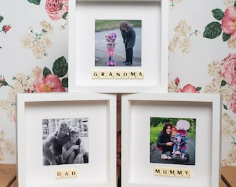 Scrabble box photo frame - personalised with a name