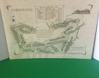 Vintage Golf Memorabilia--Map Of CARNOUSTIE Golf Course In Scotland--Litho Print By Alba Cartographics--Mounted Golf Course Map/Drawing-1987