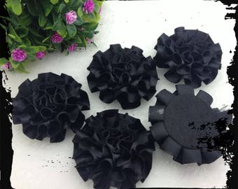 SET of 5 APPLIQUES black SATIN flower diameter: 5 CM