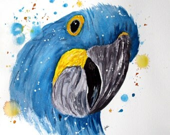 Blue Parrot  Watercolor PRINT, Bird Painting, Blue Bird Painting, Animal Painting