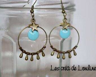 Hoop earrings blue and bronze