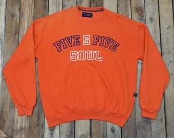 TRIPLE FIVE Soul Jumper Sweatshirt Xlarge Vintage 90's Orange Sweater Triple Five Soul Spell Out Streetwear Crewneck Pullover Size Xl