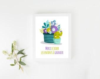 """Illustration """"Joyeux Cactus"""" pour éducatrices et enseignant(e)s"""