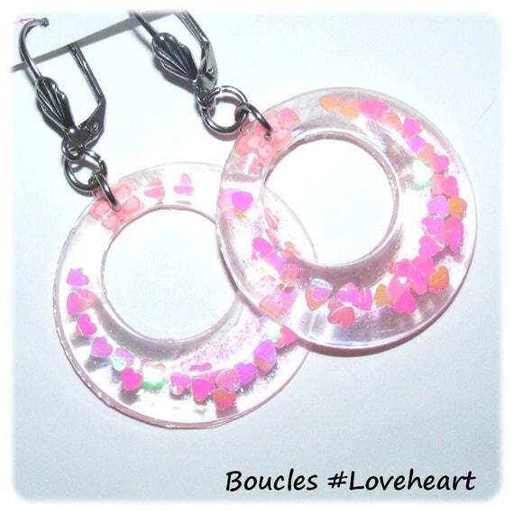 Earrings # resin gedeo # hoop # rings # sequins hearts # steel sleepers stainless # dollydoo # gift for her