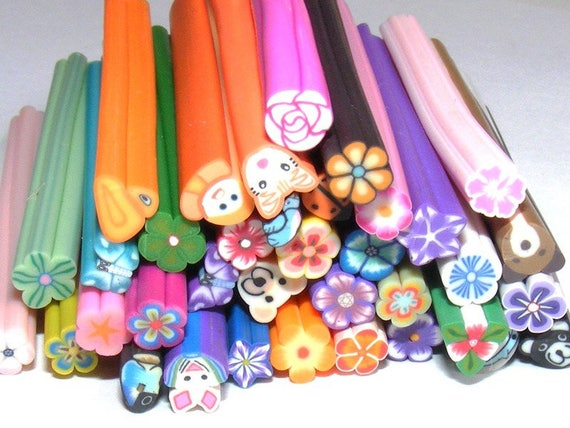 Set of canes of clay polymer [Mixed Color] 10 x 5 mm