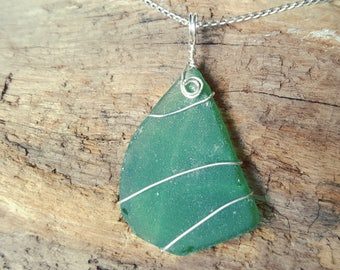 "Green sea glass pendant & necklace ~ wrapped with sterling silver wire ~ sterling silver 18"" curb chain ~ bespoke ~ handmade jewellery"