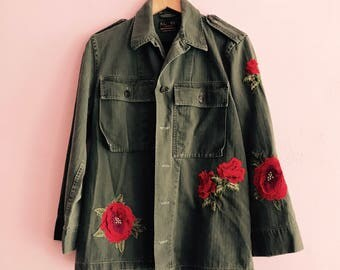 Army Jacket with Flower application