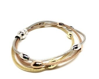 Women's jewellery 3 Tone: Gold, Copper & Silver beaded Bracelet with magnetic closure - Italian design. Gift box included. Gifts for woman