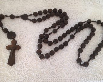 Vintage French rosary, Large vintage carved wood nun's rosary, Lourdes rosary