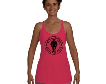 Official Bigfoot Research Team Wild Hunting Outdoor Sasquatch Yeti Chupacabra Bigfoot shirts Women's Racerback Tank